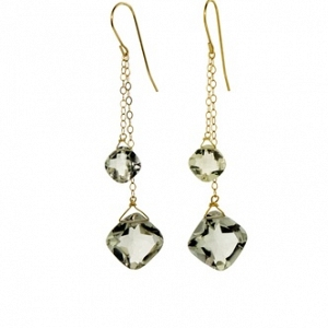 14k Double Green Amethyst Earr...