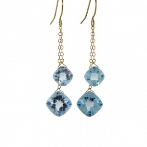 14k Double Blue Topaz Earrings
