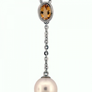 Oval Citrine and Pearl Necklac...
