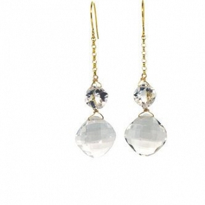 14k Double Crystal Earrings