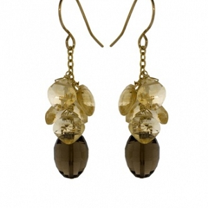 14k Smoky Quartz and Citrine E...