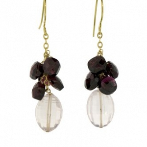 14k Rose Quartz and Garnet Ear...