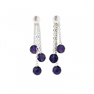 Triple Dangle Amethyst Earring...