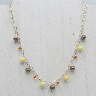 Bronze Pearl and Stone Necklace