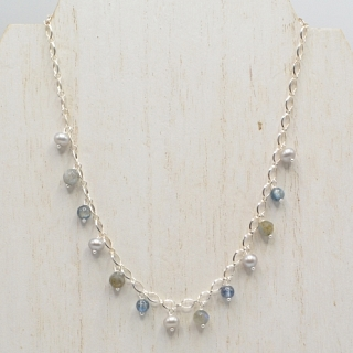 Grey Pearl and Stone Necklace