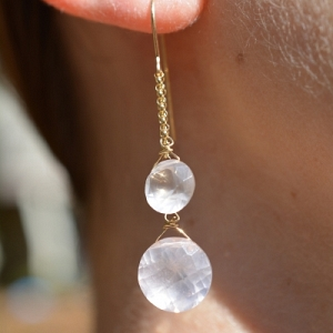 14k Double Rose Quartz Earring...