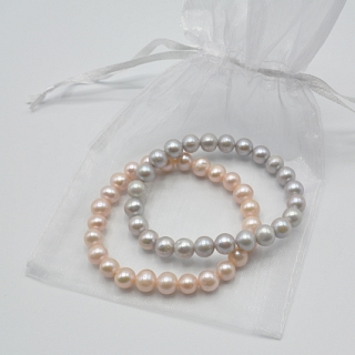 Pink and Grey Pearl Bracelet Set