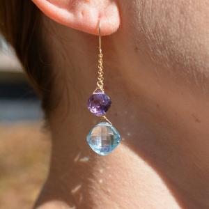 14k Blue Topaz and Amethyst Ea...