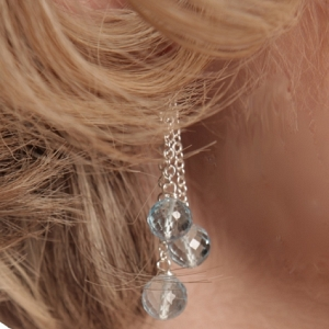 Triple Dangle Blue Topaz Earri...