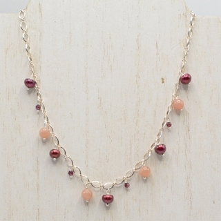 Red Pearl and Stone Necklace