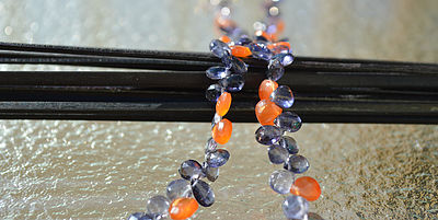 Iolite, Kyanite and Carnelian Briolette Necklace