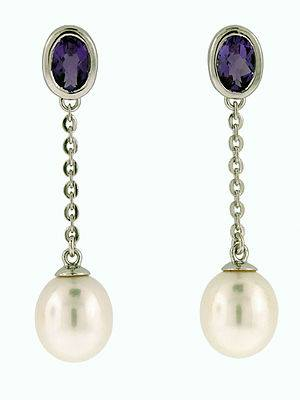 Oval Amethyst and Pearl Earrings