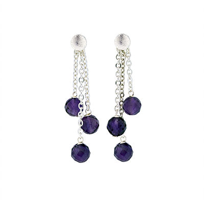 Triple Dangle Amethyst Earrings