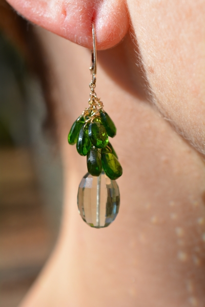 14k Green Amethyst and Chrome Diopside Earrings