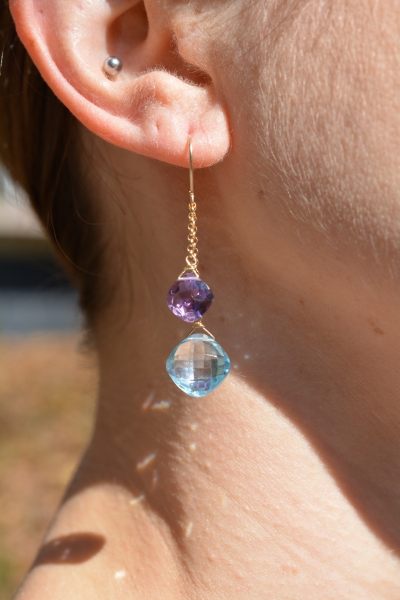14k Blue Topaz and Amethyst Earrings
