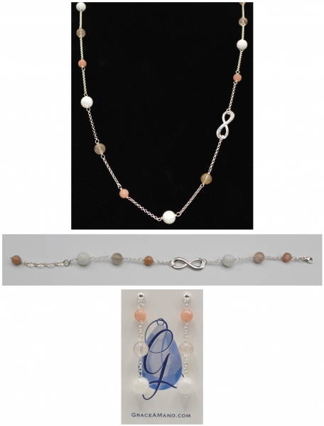 Connected Moonstone, Rutilated Quartz and Pink Moonstone Set
