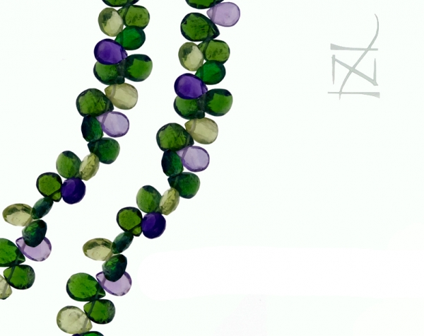 Chrome Diopside, Peridot and Amethyst Briolette Necklace